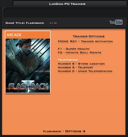 Flashback v1.0.0 Steam +4 Trainer [LinGon]