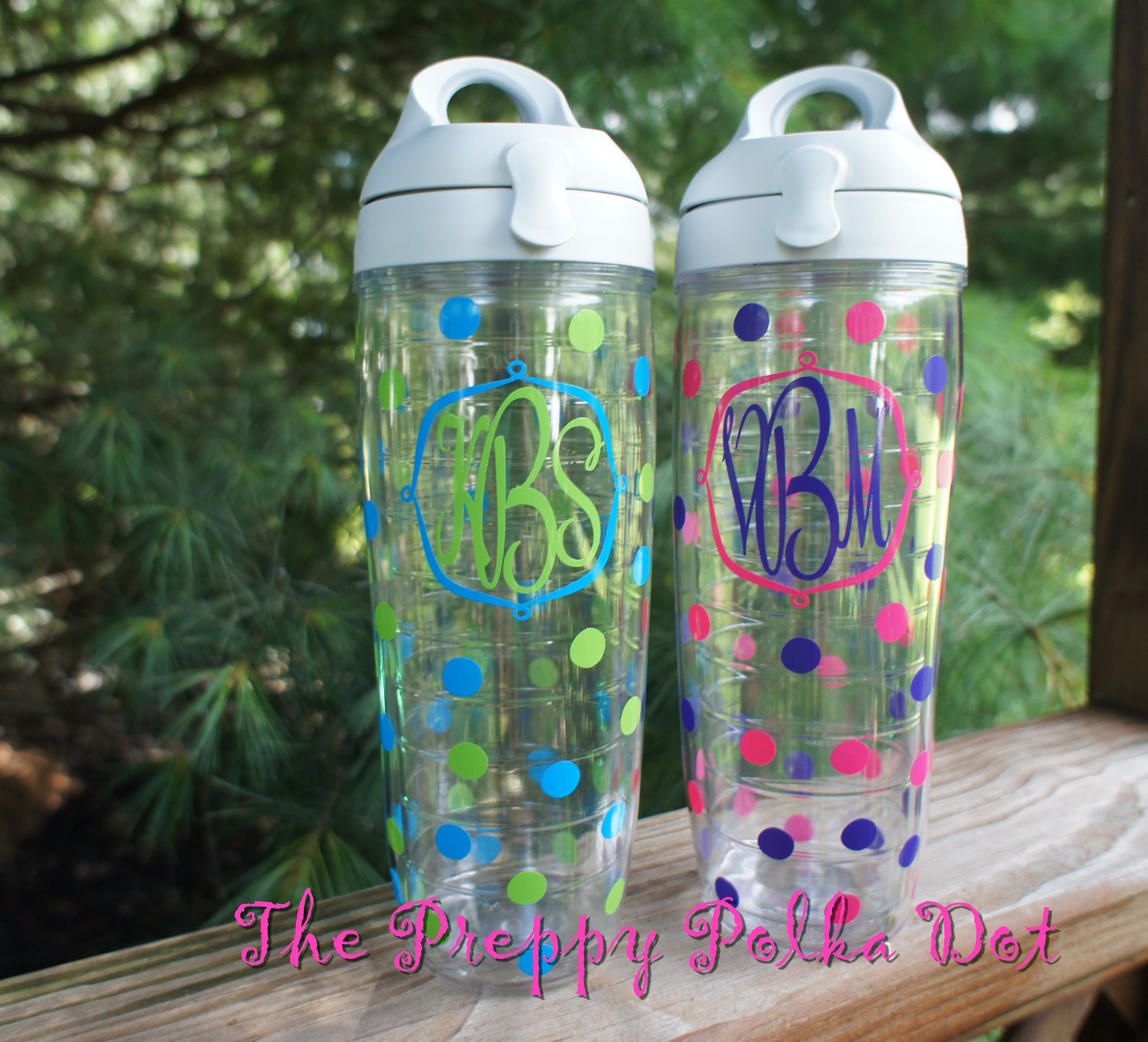 monogram 24oz tervis water bottle with polka dots