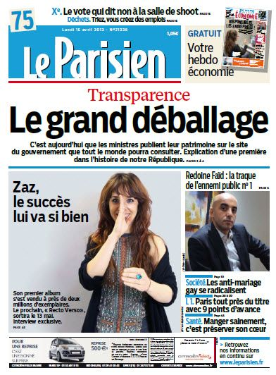 Le Parisien Lundi 15 Avril 2013