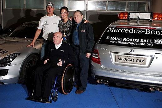 Michael Schumacher, Michelle Yeoh, Jean Todt e Frank Williams