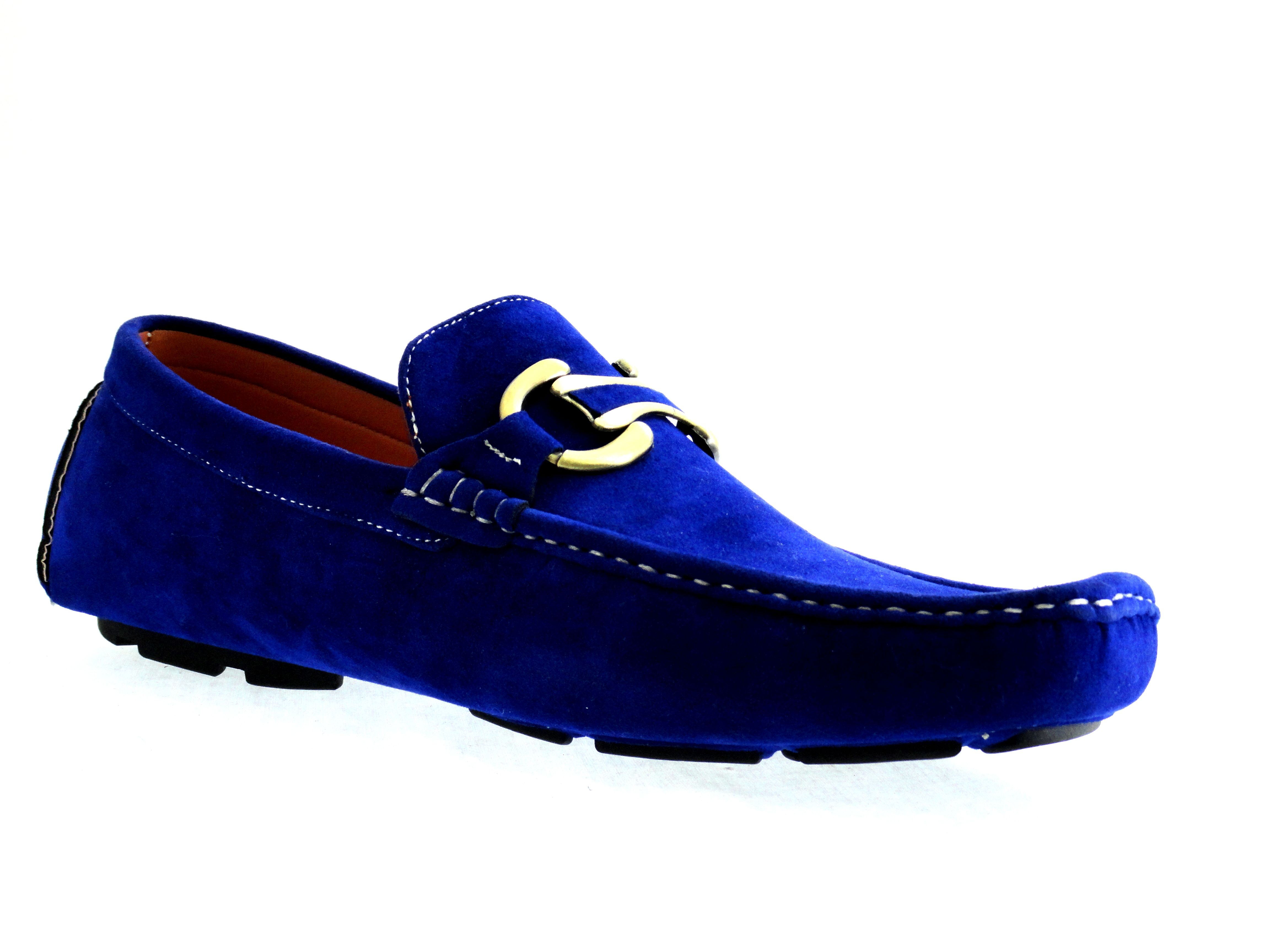 mens shoes casual driving moccasins royal blue synthetic
