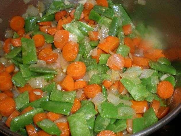 Verdura para estofado de buey con papas