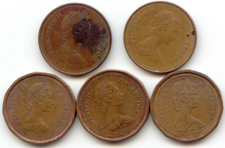 Canada 1980 1981 1982 1983 1984 One Cent Canadian Pennies Penny 1c Exact Set